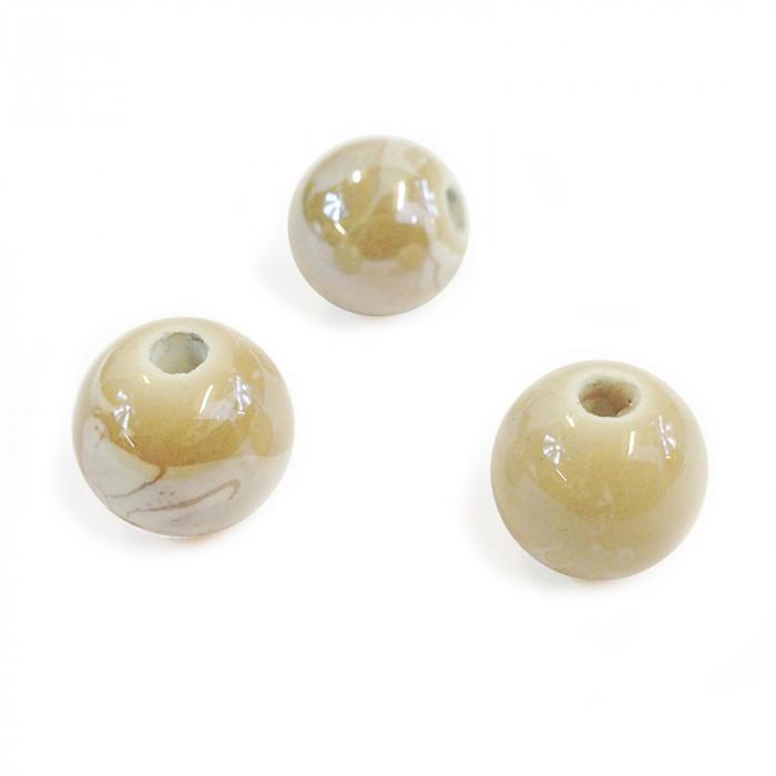 Perle en céramique à motifs ronde beige 12mm x1