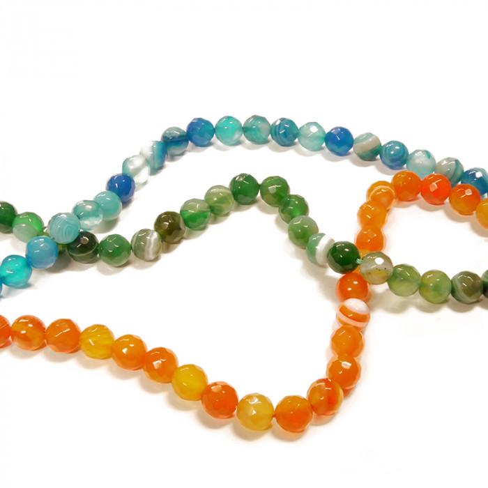 Perle agate facettée 8 mm x45 - 3 couleurs au choix