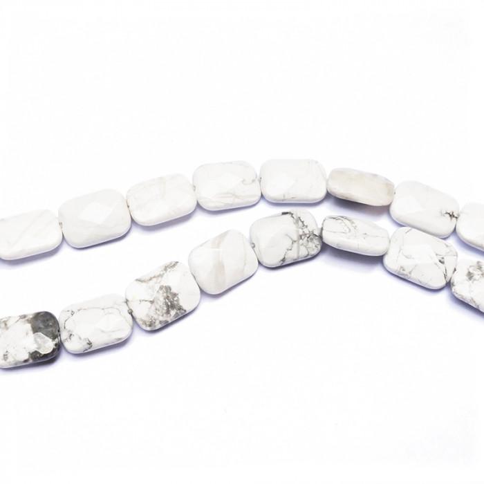 Perle jaspe blanc rectangulaire à facettes 16 mm x1