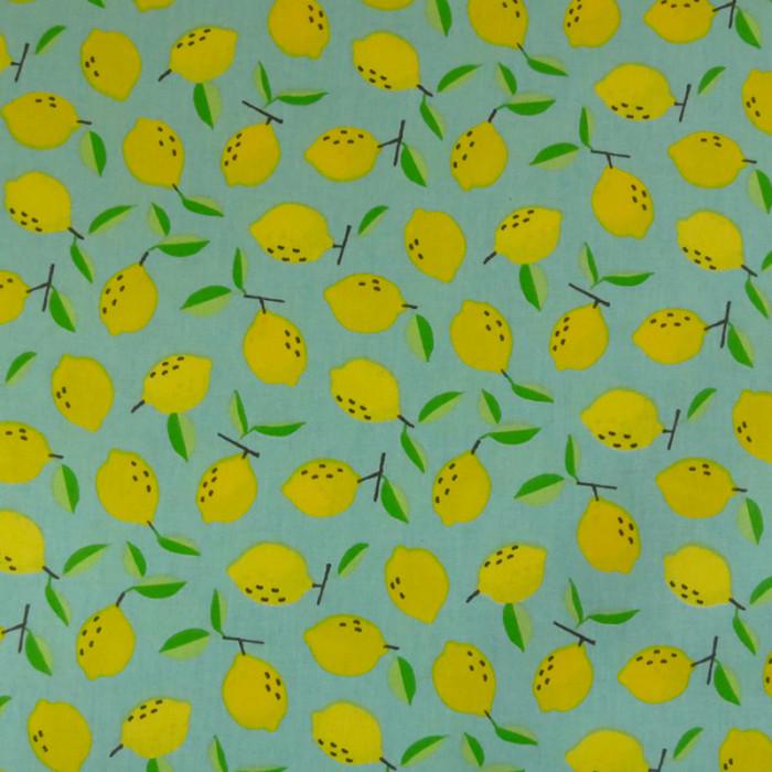 Tissu coton cretonne citrons - vert x 10 cm