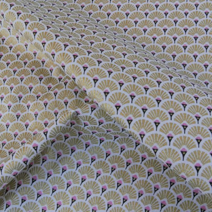 Tissu cretonne éventails - doré x 10 cm