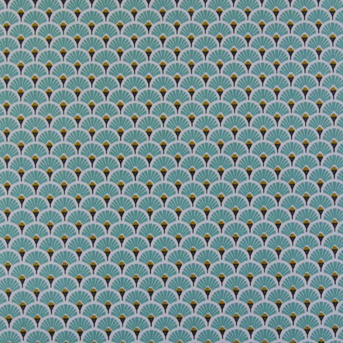Tissu cretonne éventails dorés - turquoise x 10 cm
