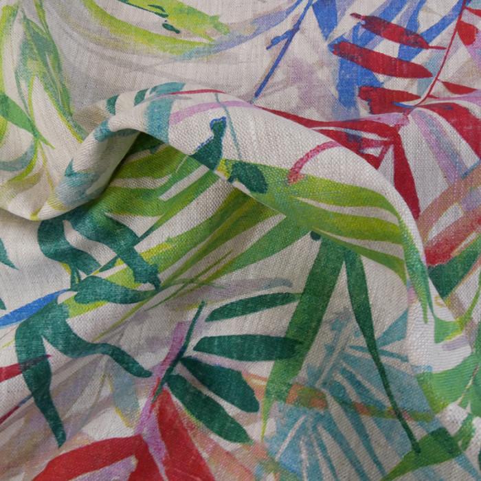 Tissu lin canopée - multicolore x 10 cm