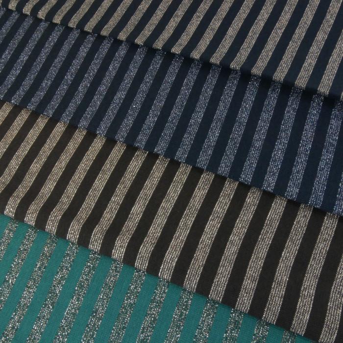 Bord-côte tubulaire rayures lurex x 10 cm
