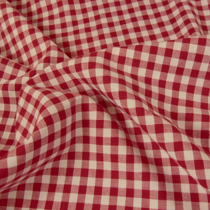 Tissu coton vichy - rouge x 10 cm