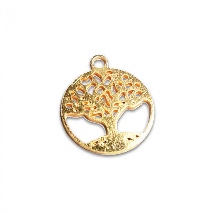 Breloque arbre de vie doré x1