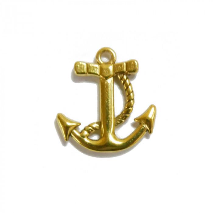 Breloque ancre marine dorée x1