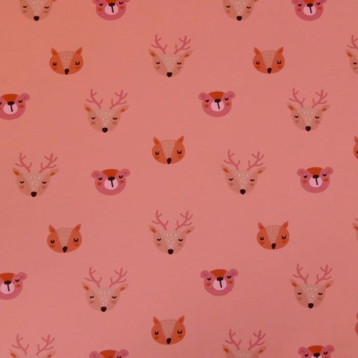 Tissu jersey animaux Stenzo - rose x 10 cm