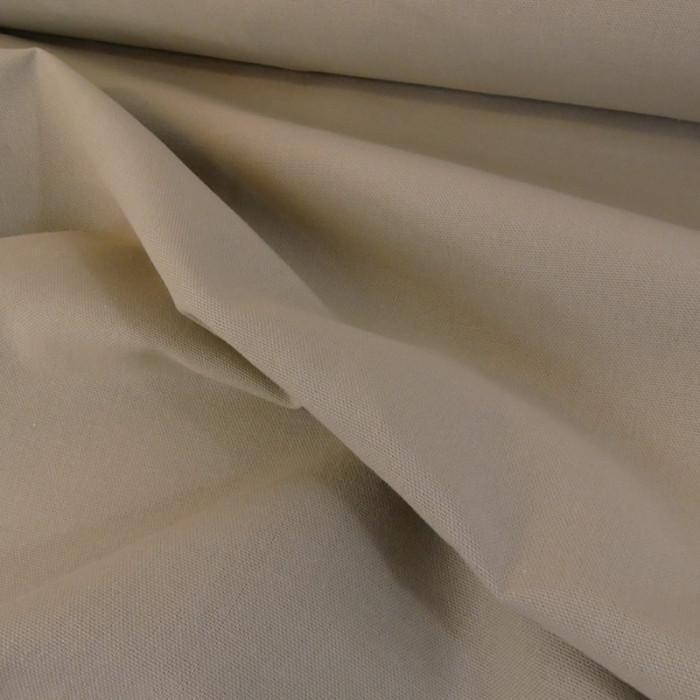 Tissu coton natté grande largeur - beige x 10 cm