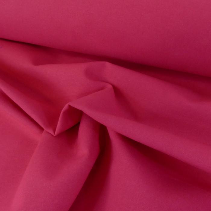 Tissu coton natté grande largeur - framboise x 10 cm