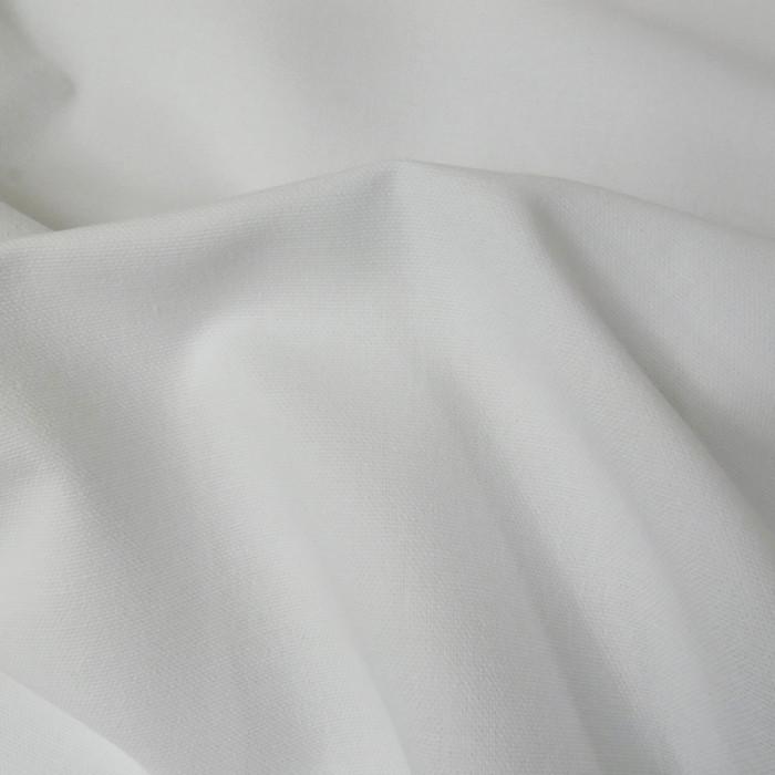 Tissu coton natté grande largeur - Blanc x 10 cm
