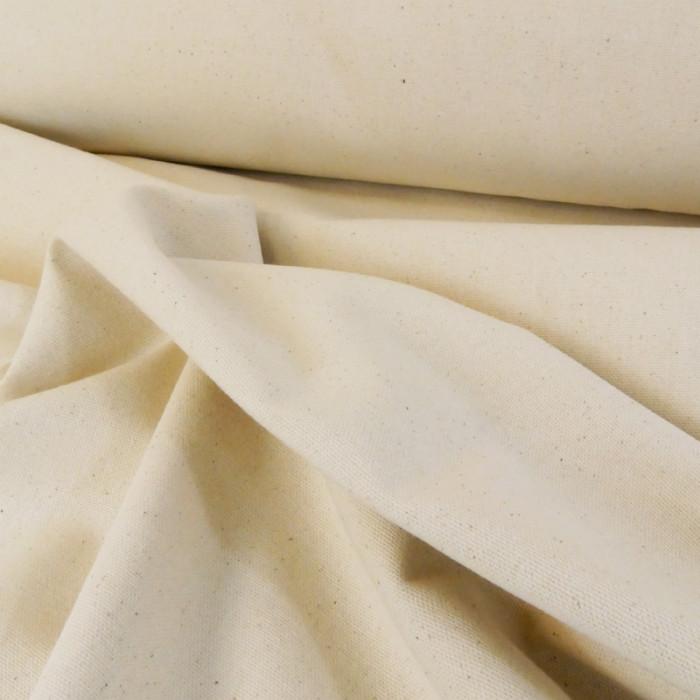 Tissu coton natté grande largeur - Ecru x 10 cm