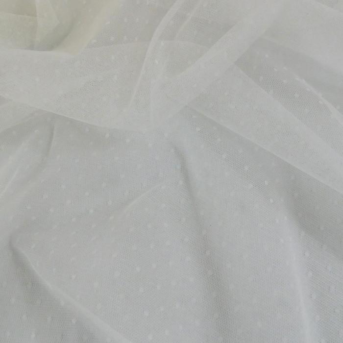 Tissu tulle plumetis - blanc x 10 cm