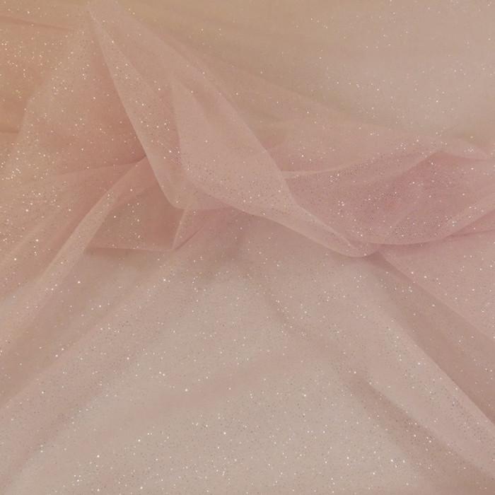 Tissu tulle à paillettes - rose x 10 cm