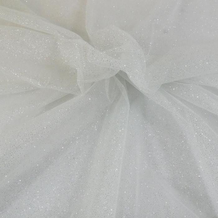 Tissu tulle à paillettes - blanc x 10 cm