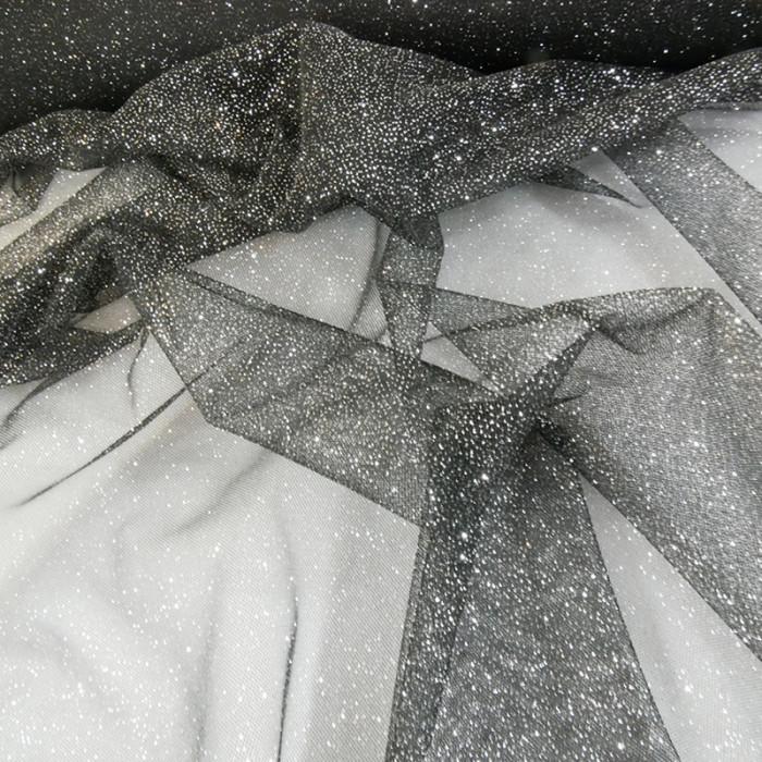 Tissu tulle à paillettes - noir x 10 cm
