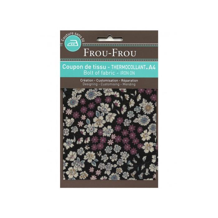Coupon de tissu thermocollant A4 fleuri - noir