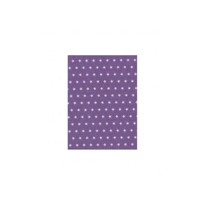 Coupon de tissu A4 thermocollant étoiles violet