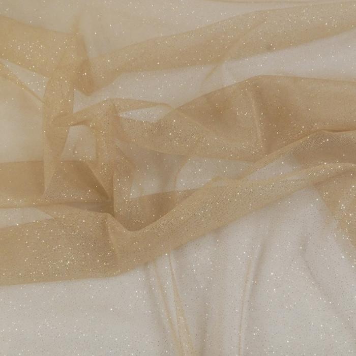 Tissu tulle à paillettes - or x 10 cm