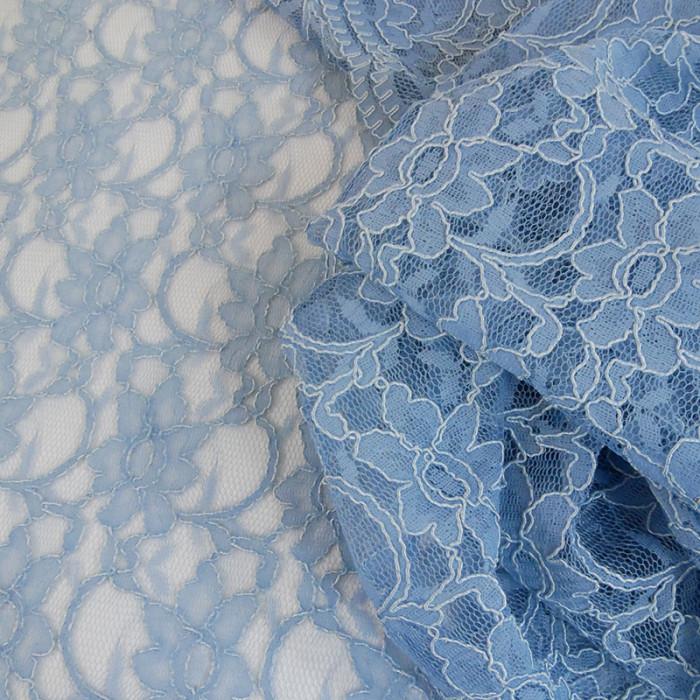 Tissu dentelle haute couture fleurs - bleu clair x 10 cm