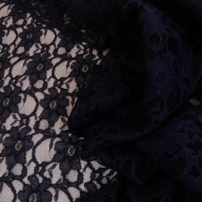 Tissu dentelle fine haute couture fleurs - bleu marine x 10 cm