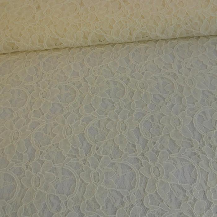 Tissu dentelle haute couture fleurs - écru x 10 cm
