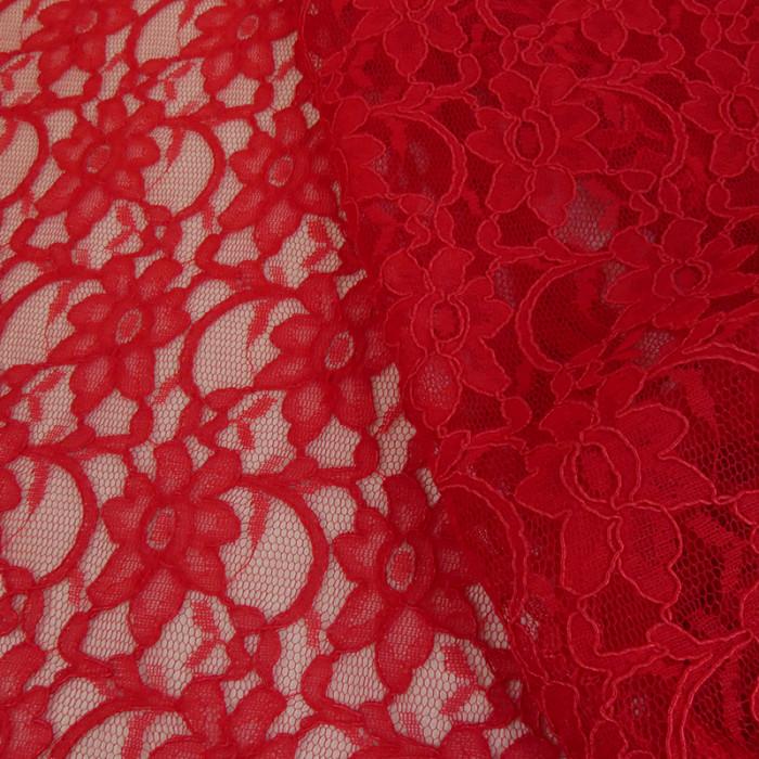 Tissu dentelle haute couture fleurs - rouge x 10 cm
