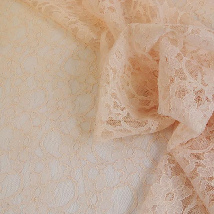 Tissu dentelle fine haute couture fleurs - rose x 10 cm