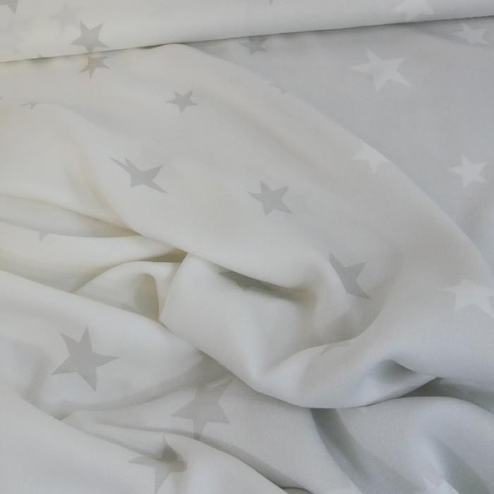Tissu viscose fine étoiles - gris x 10 cm