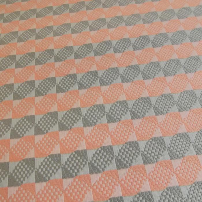 Tissu jacquard taupe corail x 10 cm