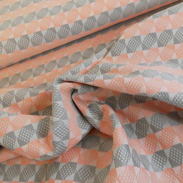 Coupon haute couture jacquard taupe corail - 80 X 160 cm