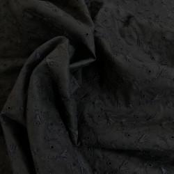 Tissu coton broderie anglaise - noir x 10 cm