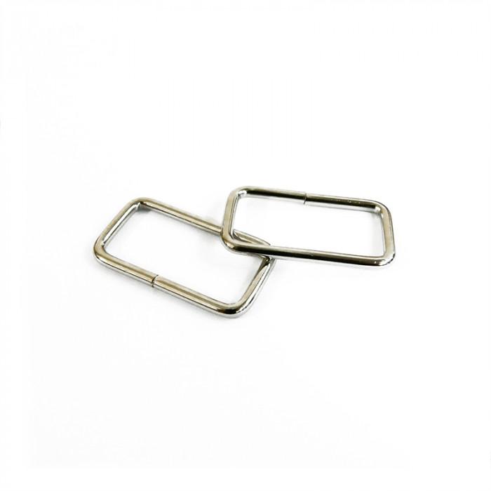 Anneaux de sac rectangulaires 32mm argent (x2)