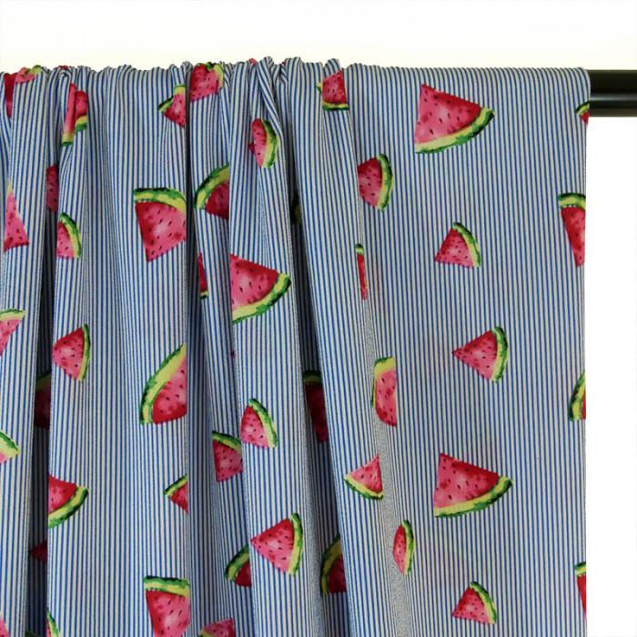 Tissu crêpe rayures pastèques - bleu x 10 cm