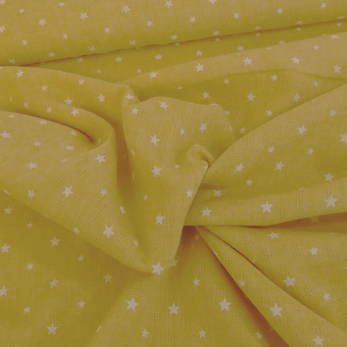 Tissu voile texturé étoiles - jaune x 10 cm