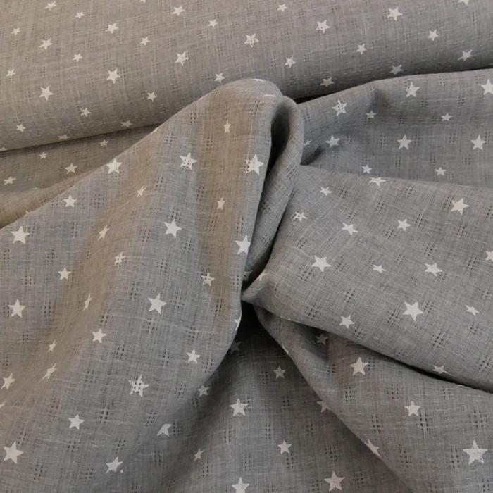 Tissu voile texturé étoiles - gris x 10 cm