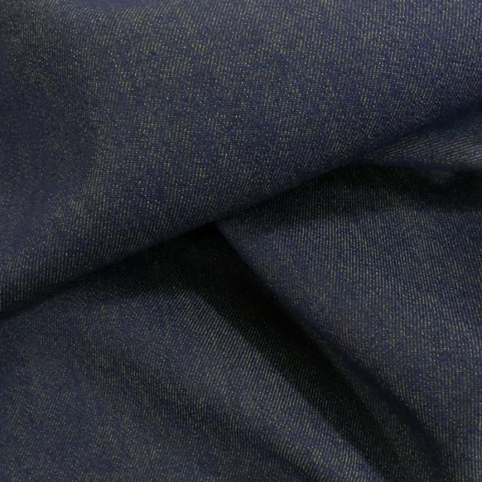 Tissu denim stretch réversible bleu/olive x 10 cm