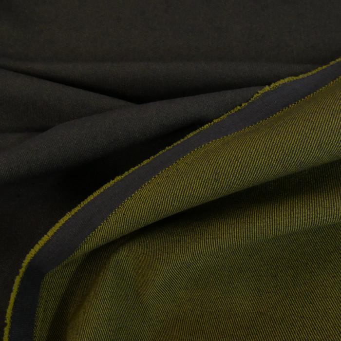Tissu denim stretch réversible taupe/vert x 10 cm