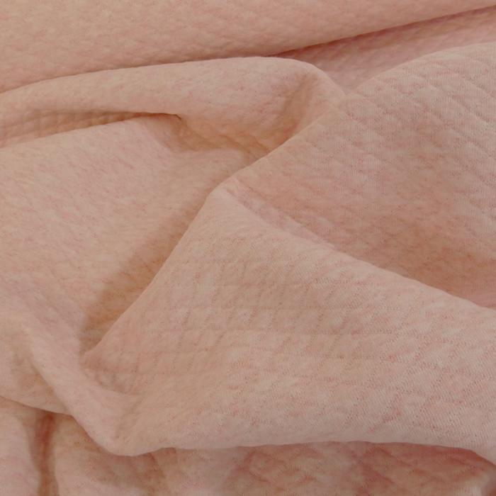 Jersey matelassé coton rose clair chiné x 10 cm