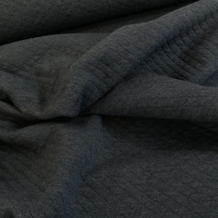 Jersey matelassé coton gris foncé chiné x 10 cm