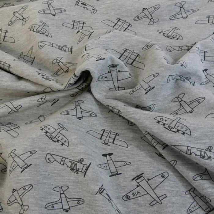 Tissu jersey gris Fun in the air - Poppy x 10 cm