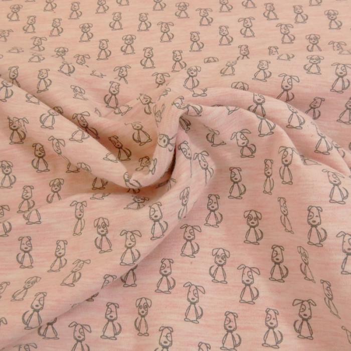 Tissu jersey rose Cute dogs - Poppy x 10 cm