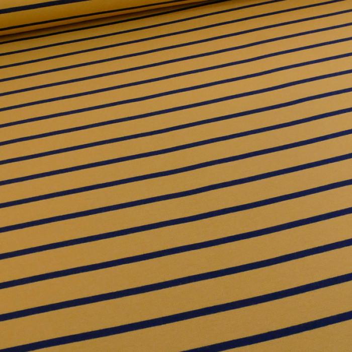 Tissu jersey sweat léger marinière moutarde marine x 10 cm