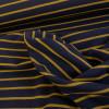 Tissu jersey bouclette marine à rayures moutarde x 10 cm