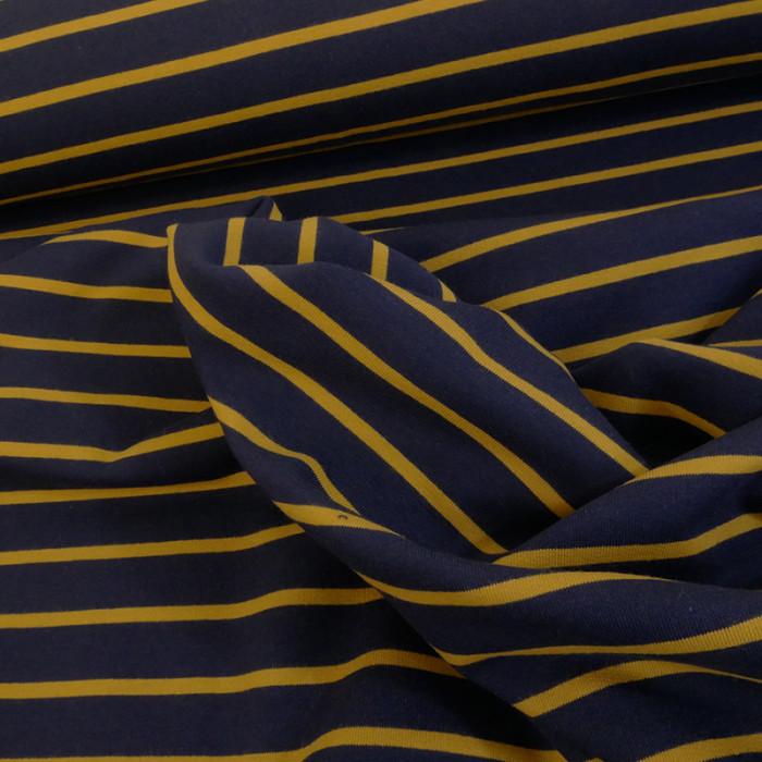 Tissu jersey marinière bleu moutarde x 10 cm