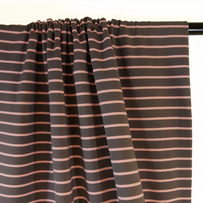 Tissu jersey marinière taupe rose pâle x 10 cm
