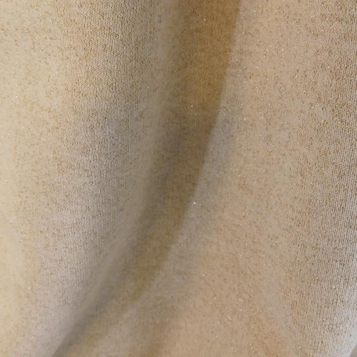 Tissu molleton sweat écru lurex doré