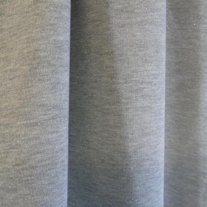 Tissu molleton sweat gris lurex argent x 10 cm