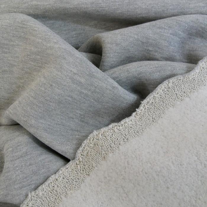 Tissu molleton sweat lurex argent - gris  x 10 cm