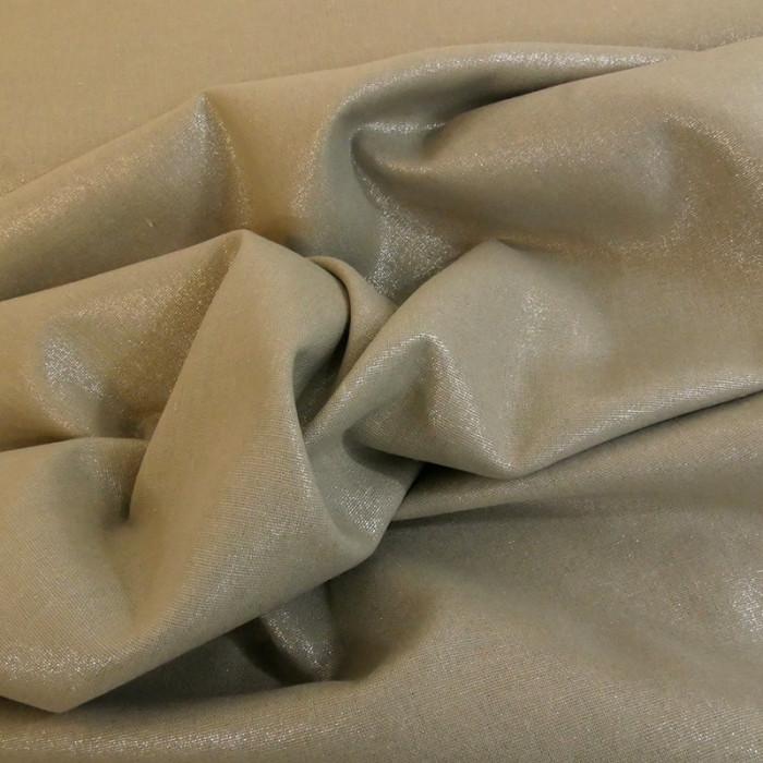 Tissu lin et viscose beige lamé argent  x 10cm